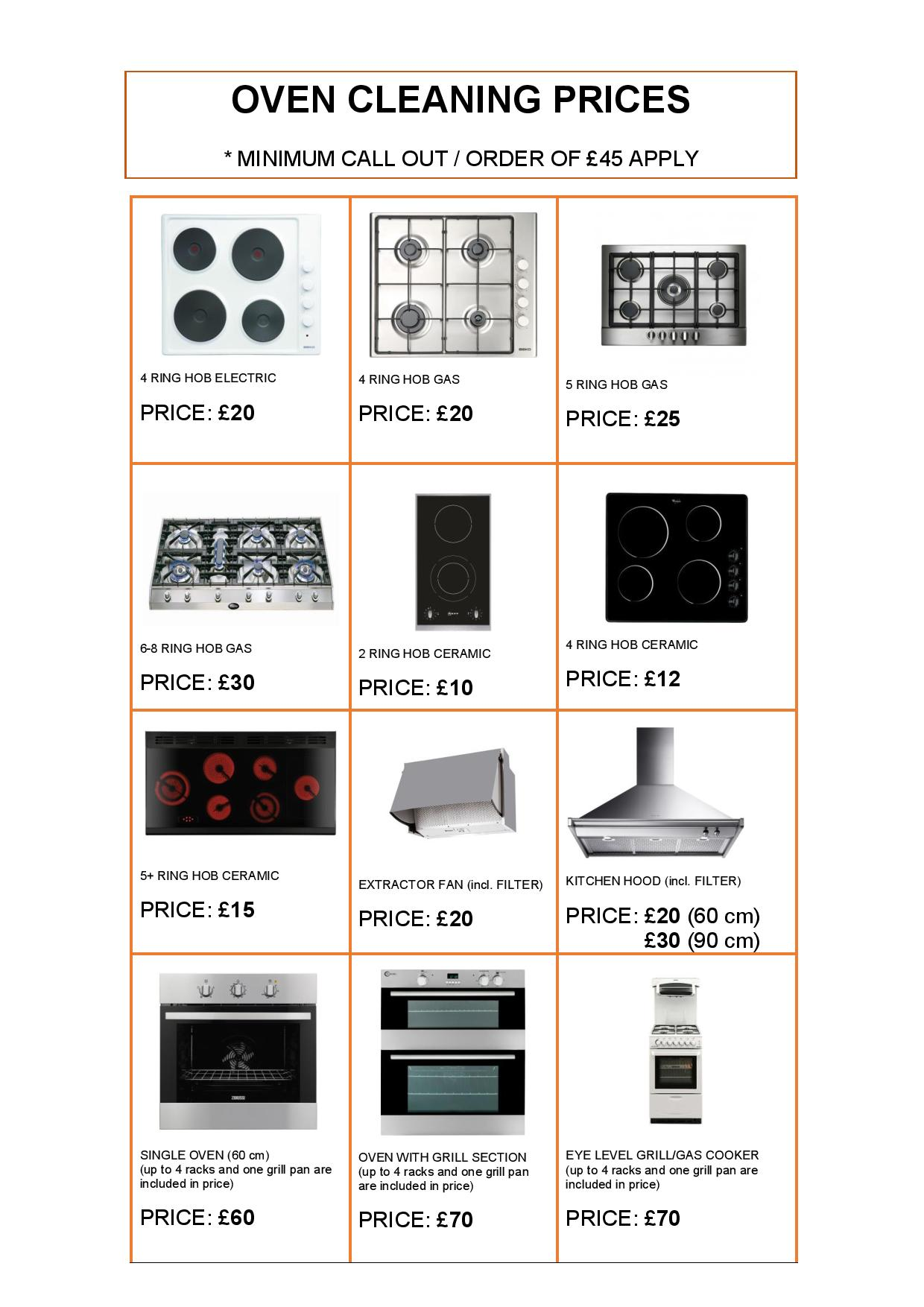 OVEN CLEANING PRICES PAGE 1